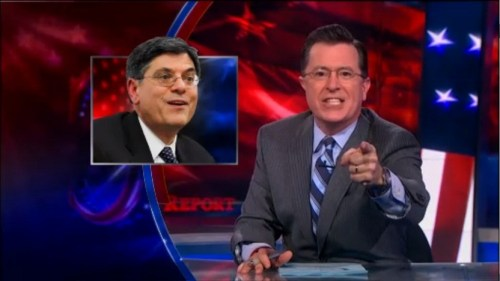 Stephen Colbert calling his audience racists for not recognizing Mr. Lew