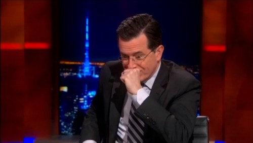 Stephen Colbert breaks while describing his mission to be King of Beans