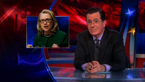 Stephen Colbert reporting on Hillary Clinton's spanking the committee