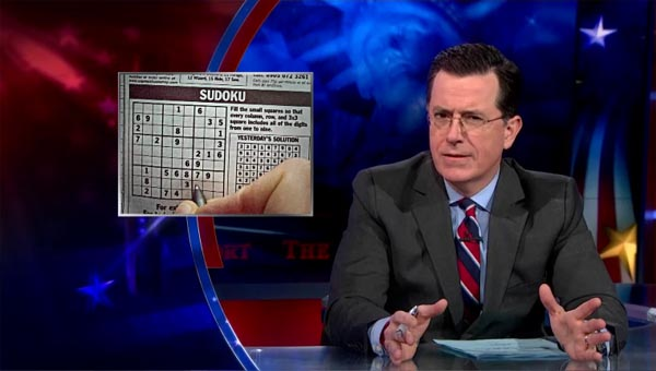 Stephen Colbert on Sudoku