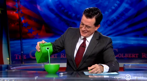 Stephen Colbert with green liquid