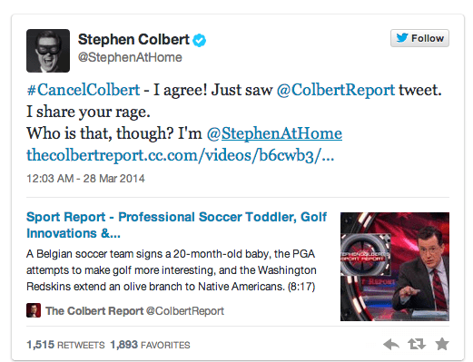 Stephen Colberts response to twitter scandal accusation