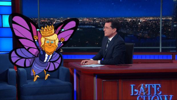 Cartoon Donald Trump as Butterfly Trump