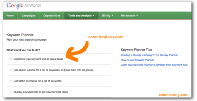 how to do keyword research with keyword planer