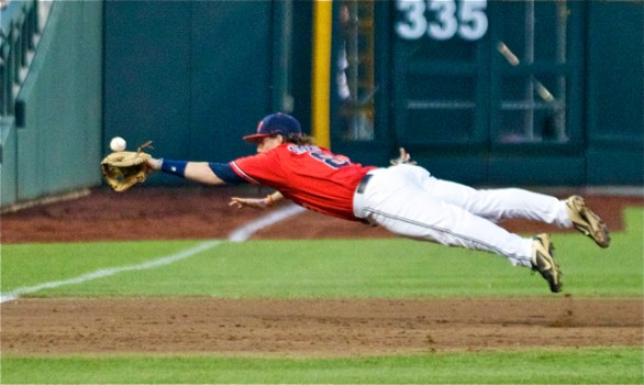 Austin Anderson lays out for a double. (Photo: Shotgun Spratling)