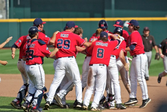 Ole Miss celebrates. (Photo: Shotgun Spratling)