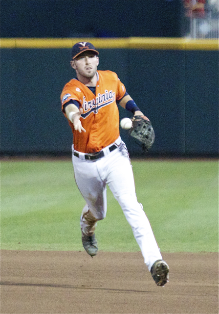 Branden Cogswell flips to first base. (Photo: Shotgun Spratling)