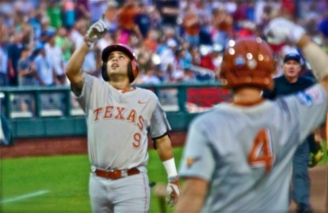 C.J. Hinojosa points to the sky after his homer. (Photo: Shotgun Spratling)