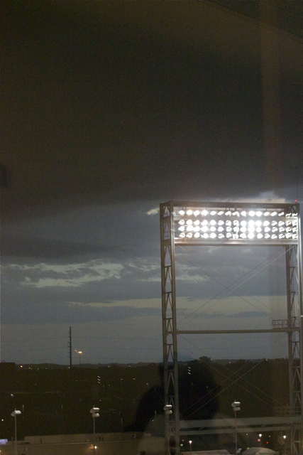 A black ominous cloud creeps over TD Ameritrade Park. (Photo: Shotgun Spratling)