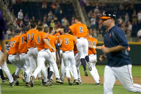 Virginia celebrates its second walk-off of the 2014 CWS. (Photo: Shotgun Spratling)