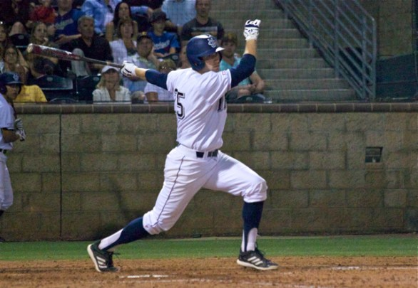 Taylor Sparks drove in Irvine's only run with a double to RF. (Photo: Shotgun Spratling)