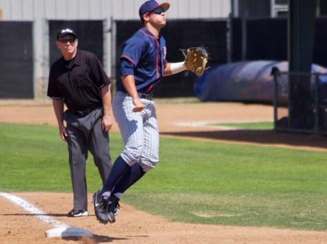 J.D. Davis hops off first base. (Photo: Shotgun Spratling)
