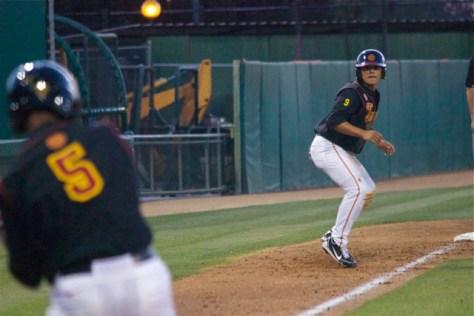 Frankie Rios leads off 3B. (Photo: Shotgun Spratling)