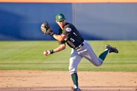 Stephen Ventimilia flips a ball to first base. (Photo: Shotgun Spratling)