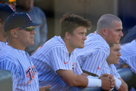 Mike Kirby, J.D. Davis and Matt Chapman look on. (Photo: Shotgun Spratling)