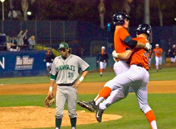 Matt Chapman jumps into Tanner Pinkston's arms. (Photo: Shotgun Spratling)