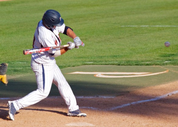 Chris Fornaci delivers the game-tying RBI in the ninth inning. (Photo: Shotgun Spratling)