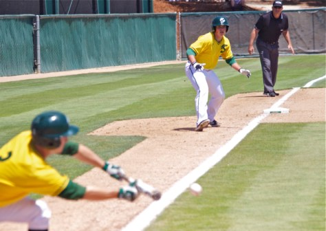 Sacramento State tried to safety squeeze on multiple occasions. (Photo: Shotgun Spratling)