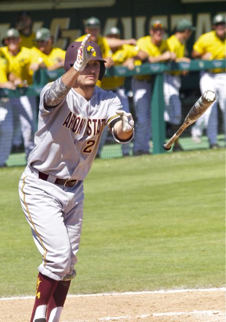 Trever Allen tosses the bat thinking he has ball four. (Photo: Shotgun Spratling)
