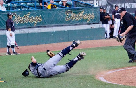 Jerry McClanahan makes a diving catch on a bunt attempt. (Photo: Shotgun Spratling)