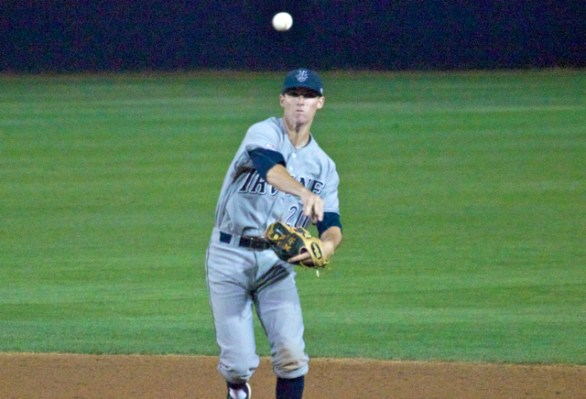 John Brontsema throws to first. (Photo: Shotgun Spratling)