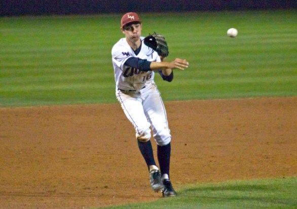 Ted Boeke fires home to nail a runner. (Photo: Shotgun Spratling)