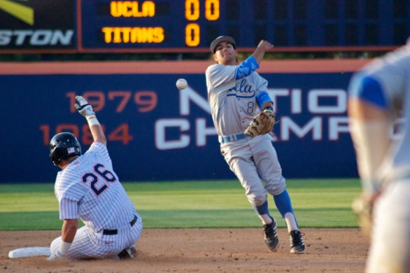 Trent Chatterton turns the double play. (Photo: Shotgun Spratling)