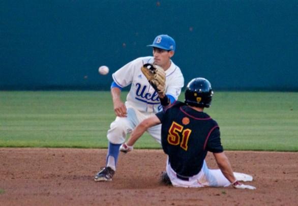 Garrett Stubbs swipes second base as Persico takes the throw. (Photo: Shotgun Spratling)
