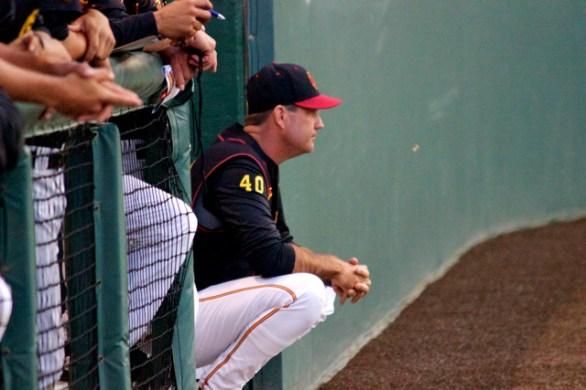 Dan Hubbs looks on from the dugout. (Photo: Shotgun Spratling)