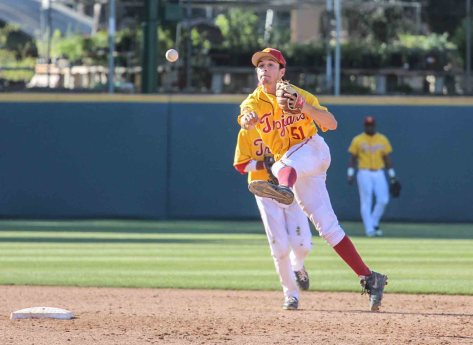 Garrett Stubbs makes an off-balanced throw from second. (Photo: Mark Alexander)