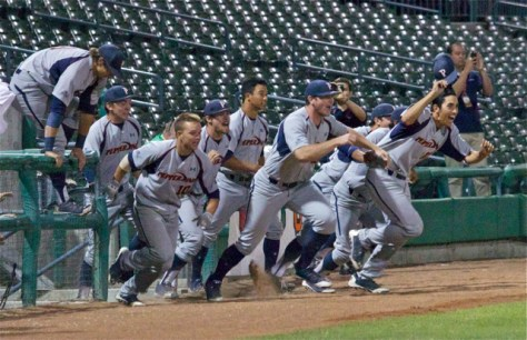 Pepperdine explodes out of the dugout. (Photo: Shotgun Spratling)