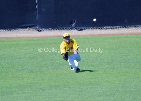 Joe Haddox makes a diving catch in LF.