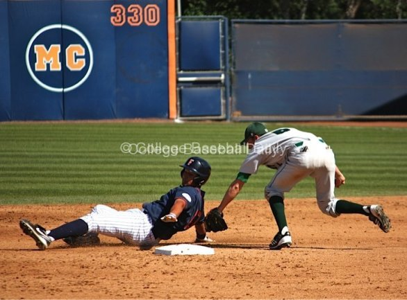 Carlos Lopez tries to avoid a tag