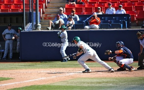 Alex Exon tries to lay down a sac bunt