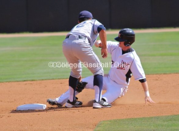 Nate Ring is tagged out stealing second base.