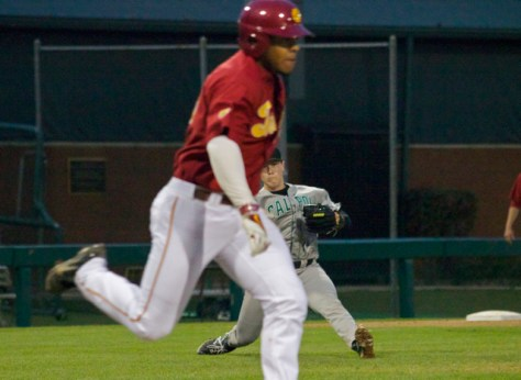 Slater Lee does a split after slipping on a bunt attempt.