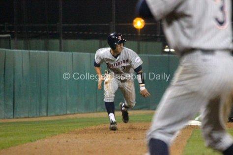 Jared Deacon runs down the line.