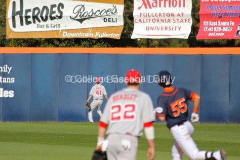Michael Lorezen rounds first base as his homer leaves the yard.