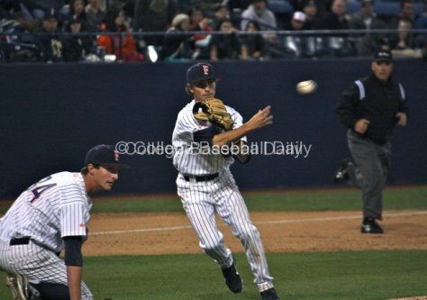 Richy Pedroza makes a play on a bunt attempt.