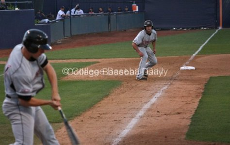 Cal Vogelsang leads off third base.