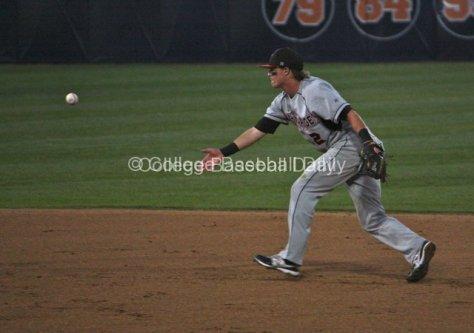 Ryan Raslowsky flips to second base.