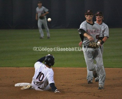 Kyle Attl turns a double play.