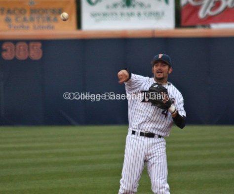 Derek Legg makes a throw while falling away.