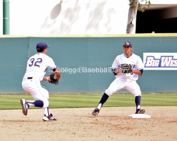 D.J. Crumlich begins to flip the ball to second base.