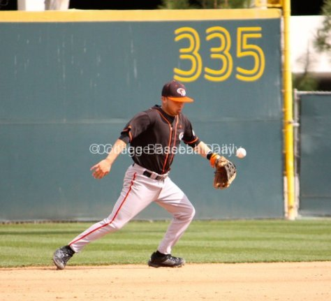 Curtis Gomez knocks the ball down.
