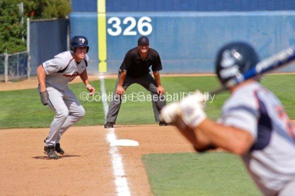Matt Forgatch leads off third base.