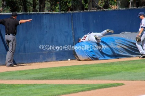 Austin Davidson tries to make a catch over the tarp.