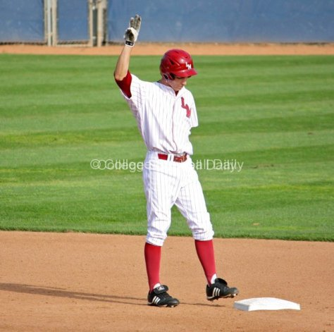 Cullen Mahoney signals to the dugout after doubling.