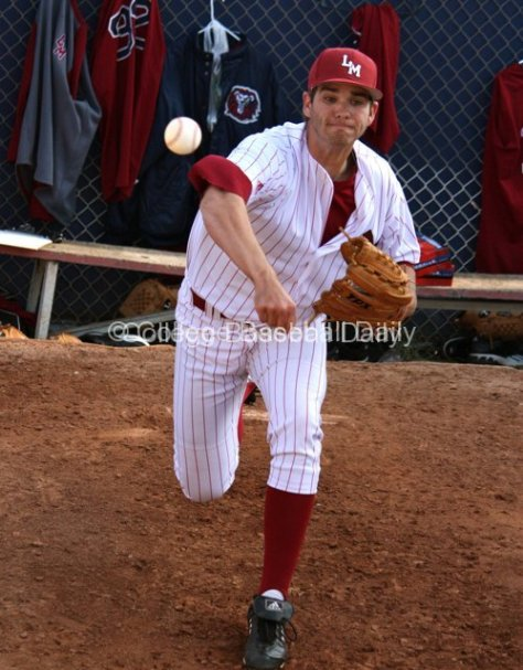 Aaron Griffin warms up in the bullpen.