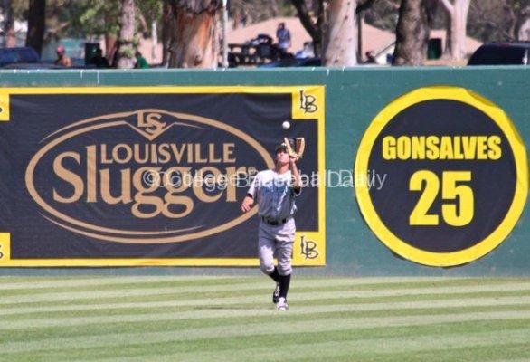 Jordan Ellis catches a fly ball.